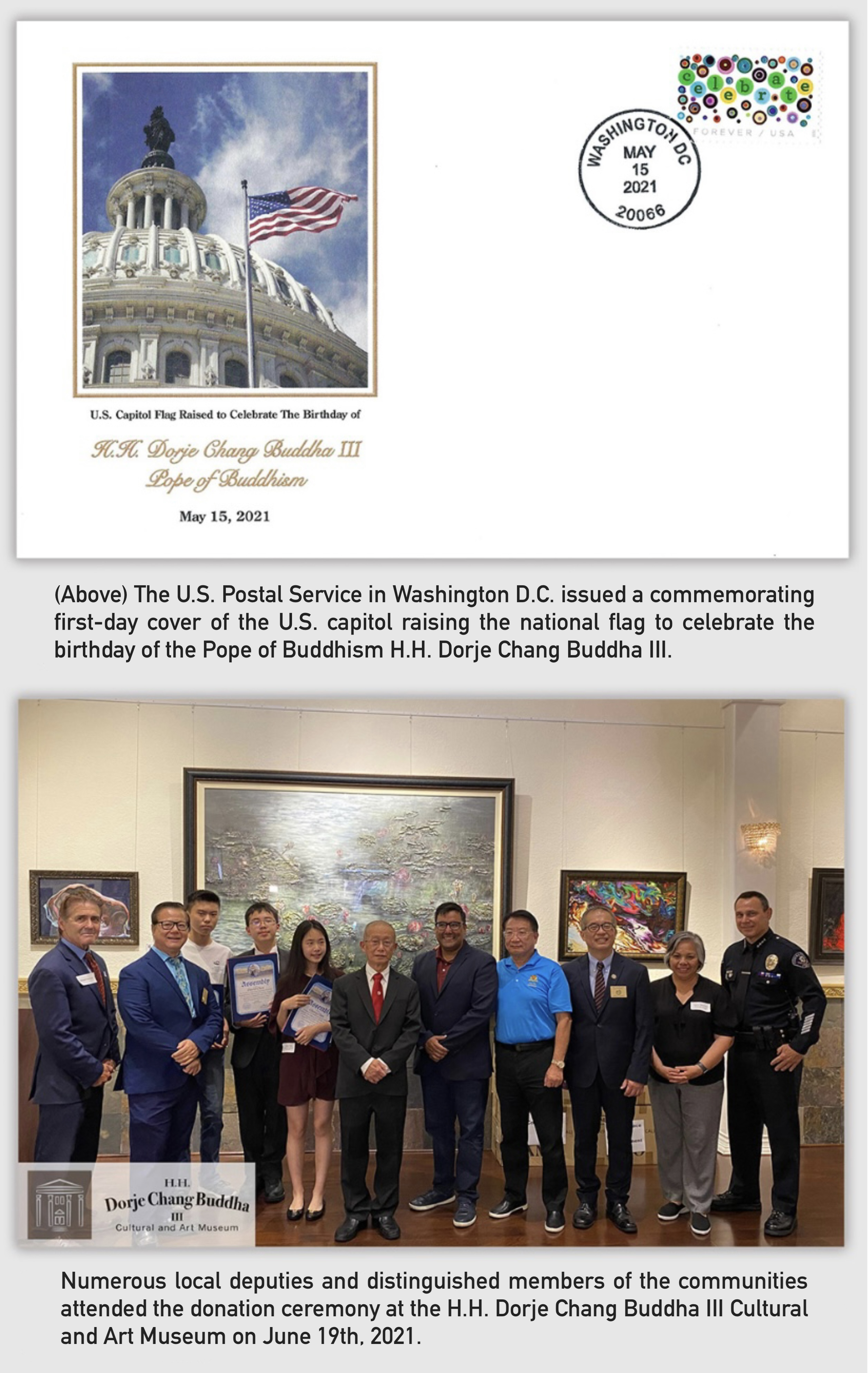 THE U.S. POSTAL SERVICE IN WASHINGTON D.C. ISSUED A COMMEMORATING FIRST-DAY COVER OF THE U.S. CAPITOL RAISING THE NATIONAL FLAG TO CELEBRATE THE BIRTHDAY OF THE POPE OF BUDDHISM H.H. DORJE CHANG BUDDHA III